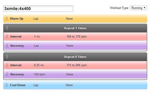 Garmin Advanced Workout