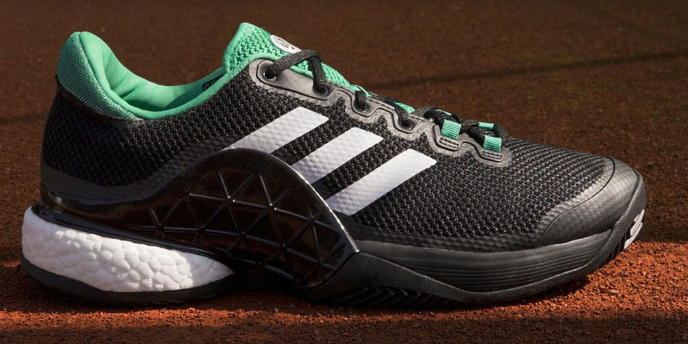 pretty nice 874d6 6dc32 The new adidas Barricade 2017 Boost tennis shoes feature a seamless,  knitted bootie style that provides a secure and adaptive fit as it wraps  around the ...