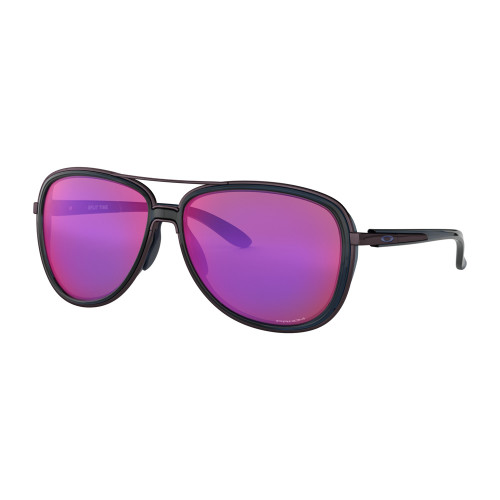aviator style Oakley sunglasses with black frames and pink lenses