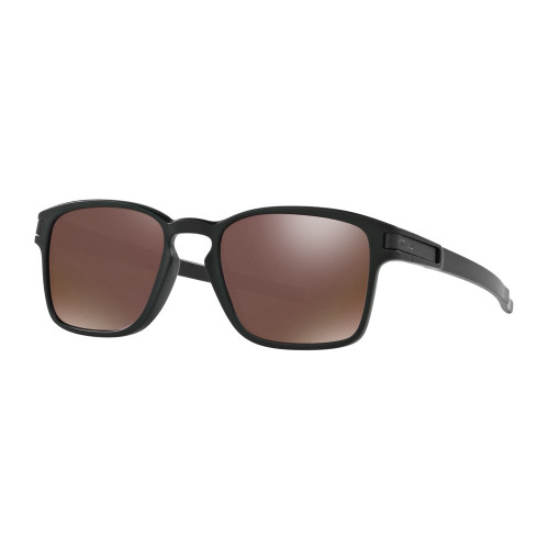 square frame Oakley sunglasses with brown lenses and black frames