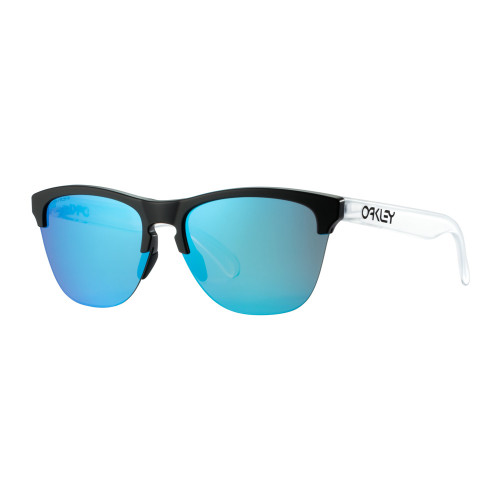rounded Oakley sunglasses with blue lenses and black and clear frames