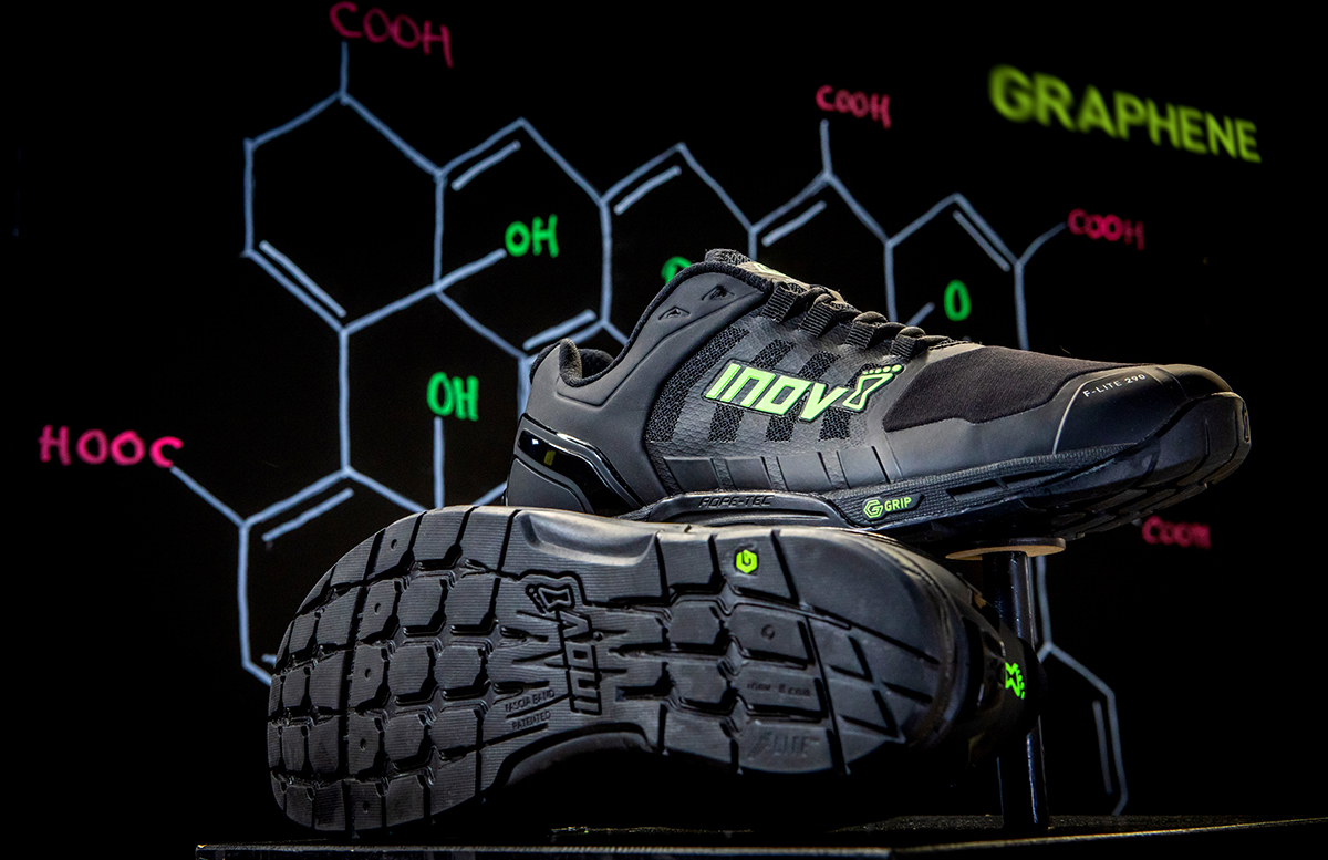 inov-8 G-Series F-Lite shoe against a chemistry backdrop